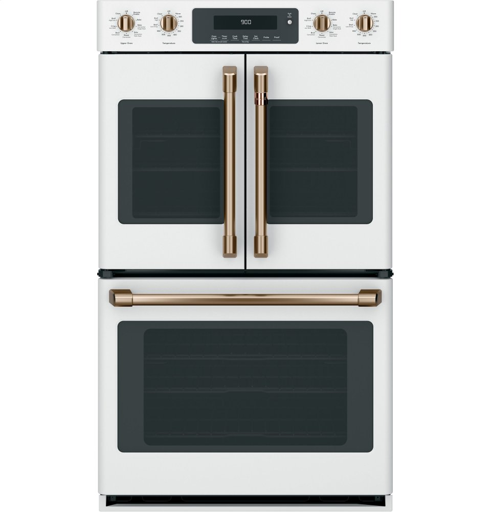"""Caf(eback) 30"""" Smart Double Convection Wall Oven  MATTE WHITE"""