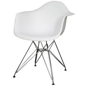 Carl Molded PP Arm Chair Chrome Wire Legs, White
