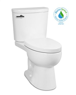White PALERMO II Two-Piece Toilet UHET 1.0 gpf, Elongated with Polished Nickel Metal Finish