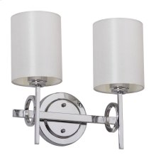 Ventura Double Light Sconce - Chrome Shade Color: White