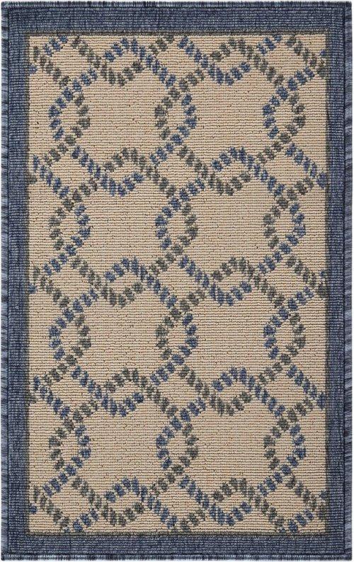 Caribbean Crb16 Ivory Blue Rectangle Rug 1'9'' X 2'9''