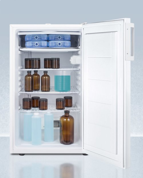 "ADA Compliant 20"" Wide Refrigerator-freezer for Built-in Use With Nist Calibrated Thermometer, Internal Fan, and Front Lock"
