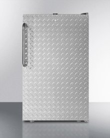 """20"""" Wide Built-in Refrigerator-freezer With A Lock, Diamond Plate Door, Towel Bar Handle and Black Cabinet"""