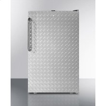 "20"" Wide Built-in Refrigerator-freezer With A Lock, Diamond Plate Door, Towel Bar Handle and Black Cabinet"