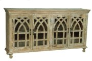 BENGAL MANOR LIGHT MANGO WOOD CATHEDRAL DESIGN 4 DOOR SIDEBOARD Product Image