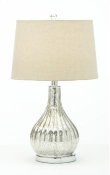 Chrome Bulb Lamp with Linen Shade