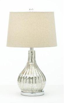 Chrome Bulb Lamp with Linen Shade