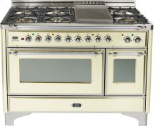 Antique White with Chrome trim - Majestic 48-inch Range with Griddle