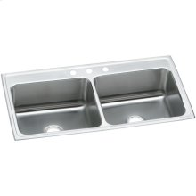"Elkay Lustertone Classic Stainless Steel 43"" x 22"" x 12-1/8"", Equal Double Bowl Drop-in Sink"