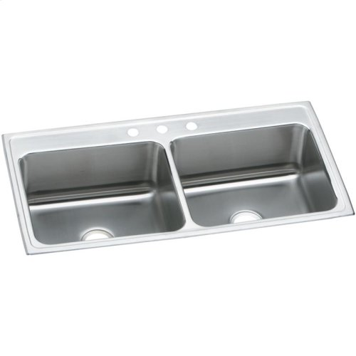 """Elkay Lustertone Classic Stainless Steel 43"""" x 22"""" x 12-1/8"""", Equal Double Bowl Drop-in Sink"""