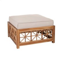 Teak Lattice Square Ottoman Cushion in Cream
