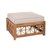 Teak Lattice Square Ottoman Cushion in Cream