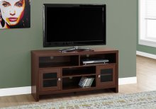 "TV STAND - 48""L / WARM CHERRY WITH GLASS DOORS"