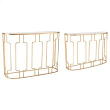 Roma Set Of 2 Console Tables Gold