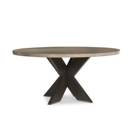 "Casa Bella ""x"" Base Round Dining Table Combo Finish: Timber Gray/charbrown"