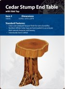 Cedar Stump End table with Slab Top Product Image