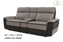 POWER Double Reclining Love Seat with Center Console: 92 x 36.75 x 39.5H