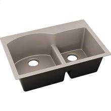 """Elkay Quartz Luxe 33"""" x 22"""" x 10"""", Offset 60/40 Double Bowl Drop-in Sink with Aqua Divide, Silvermist"""