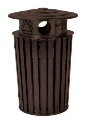 District Round Waste Receptacle with Recycling Hood, Slat