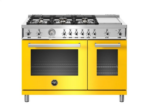 48 inch 6-Burner + Griddle, Gas Double Oven Yellow