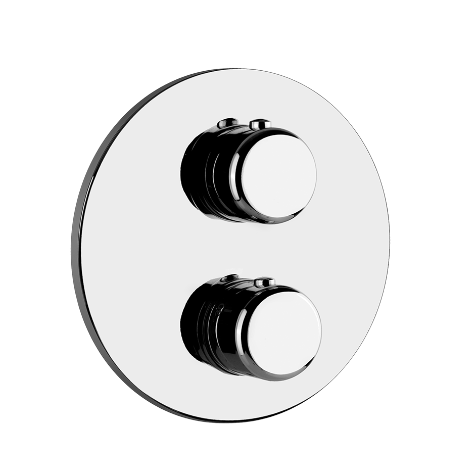 "TRIM PARTS ONLY External parts for 2-way diverter thermostatic and volume control Single backplate 1/2"" connections Vertical/Horizontal application Anti-scalding Requires in-wall rough valve 09279"
