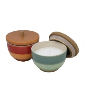 2/asst Outdoor Citronella Candles, Ceramic Lidded Jars