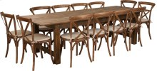 9' x 40'' Antique Rustic Folding Farm Table Set with 12 Cross Back Chairs and Cushions