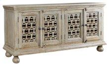 Bengal Manor Mango Wood Aged Ash 4 Door Carved Sideboard