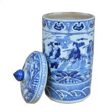 Blue & White Lidded Urn