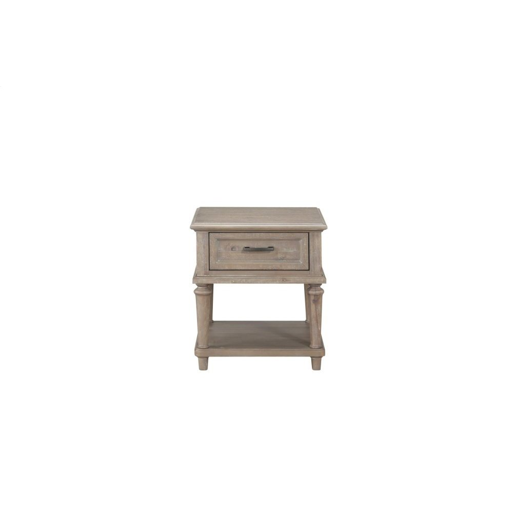 End Table With Functional Drawer, Brown