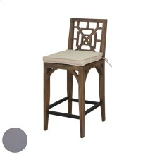 Teak Patio Barstool Cushion in Grey