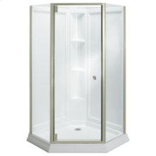 Solitaire® Frameless Neo-Angle Corner Shower Kit - 2375 Series - Nickel with Smooth/Clear Glass Texture