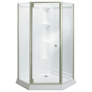 Solitaire® Frameless Neo-Angle Corner Shower Kit - 2375 Series - Nickel with Smooth/Clear Glass Texture Product Image