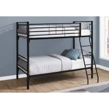 BUNK BED - TWIN / TWIN SIZE / DETACHABLE BLACK METAL