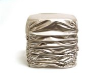 Champagne Faux Leather Stool 15.75x15.75x16.16 Product Image
