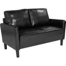 Washington Park Upholstered Loveseat in Black Leather