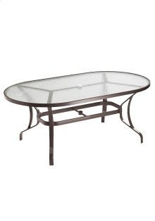 "Obscure Glass 72"" x 40 Oval KD Dining Umbrella Table"