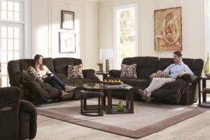 Power Headrest Lay Flat Reclining Sofa