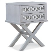 Mirrored Diamond Filigree X Base Nightstand/Table with Two Drawers #10082-SV Product Image