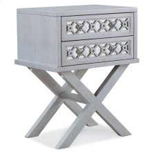 Mirrored Diamond Filigree X Base Nightstand/Table with Two Drawers #10082-SV