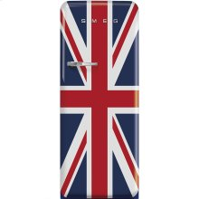 "Approx 24"" 50'S Style Refrigerator with ice compartment, Union Jack, Right hand hinge"