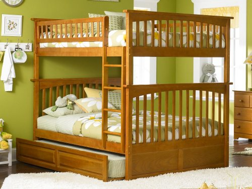 Columbia Bunk Bed Full over Full with Raised Panel Trundle Bed in Caramel Latte