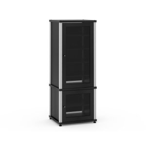 Salamander DesignsSynergy Solution 603, Quad-Width AV Cabinet, Black with Aluminum Posts