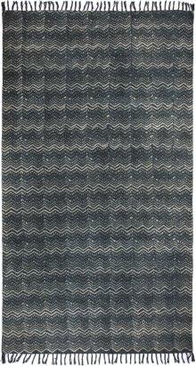 Tribal Chevron Print Black & White Rug