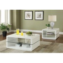 Modern White End Table