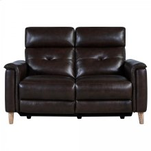 Gala Brown Contemporary Top Grain Leather Power Recliner Loveseat with USB