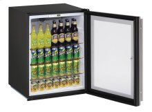 "Ada Series 24"" Ada Glass Door Refrigerator With Stainless Frame (lock) Finish and Field Reversible Door Swing"