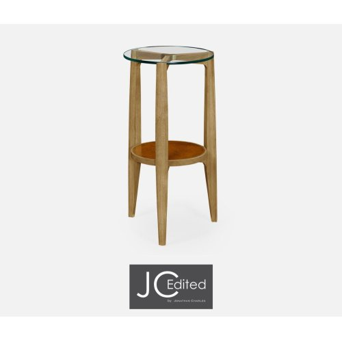 Architectural Round End Table with Glass Top