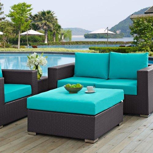 Convene Outdoor Patio Large Square Ottoman in Espresso Turquoise
