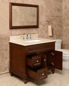 White PRESLEY 36-in Single-Basin Vanity Cabinet with Carrara Marble Stone Top and Karo 18x12 Sink